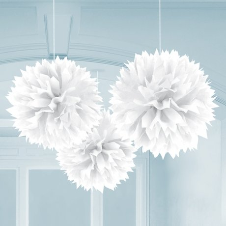 White Paper Fluffy Decorations 40cm - 3