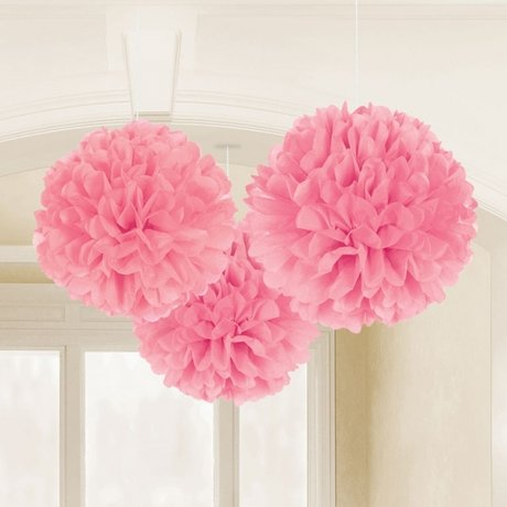 Light Pink Fluffy Tissue Paper Decorations 40.6cm
