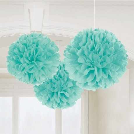 Robin Egg Blue Fluffy Tissue Paper Decorations 40.6cm