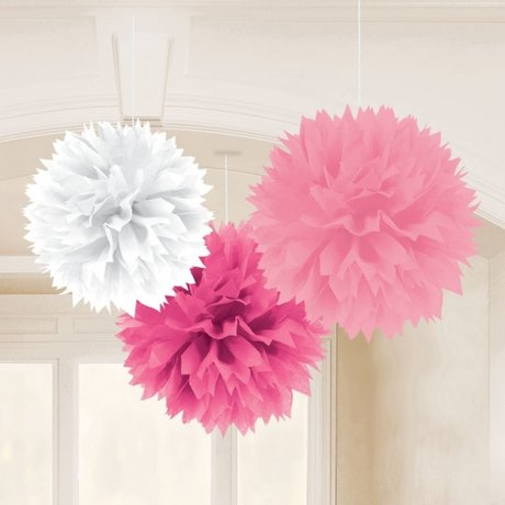 Multy Pink Fluffy Tissue Decorations 40.6cm -3