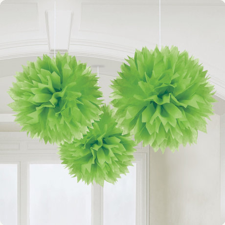 Kiwi Green Paper Fluffy Decorations 40cm - 3
