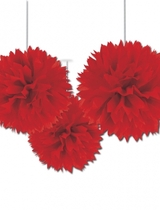 Red Paper Fluffy Decorations 40cm - 3