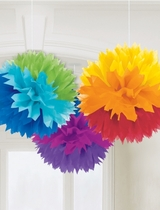Rainbow Fluffy Paper Decorations 40cm - 3