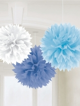 Multy Blue Fluffy Tissue Decorations 40.6cm -3